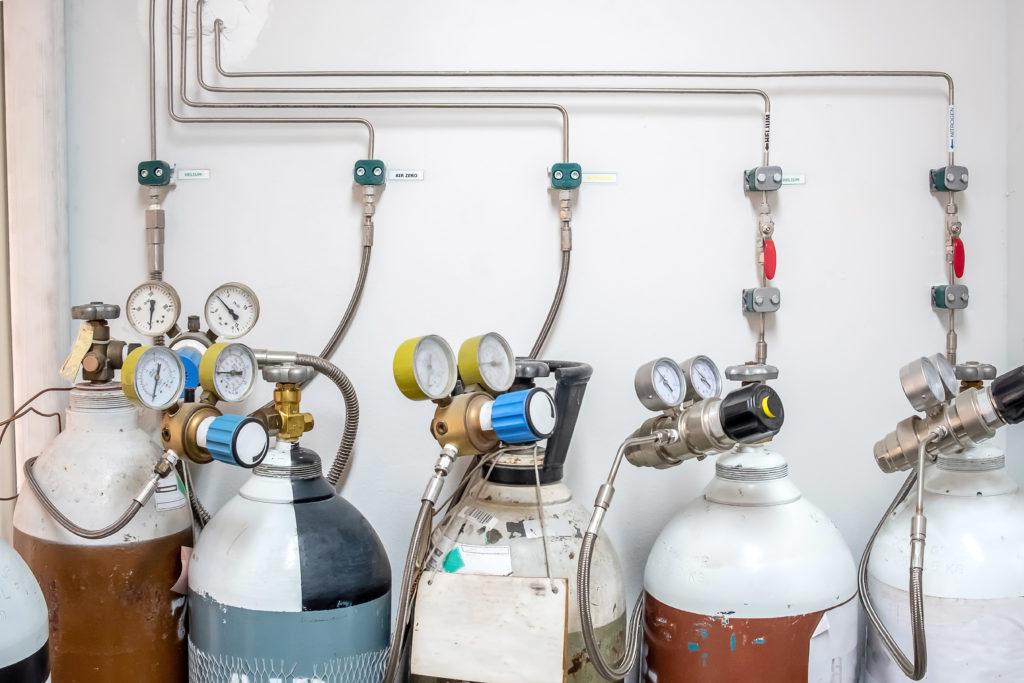 Gasmischanlage mit verschiedenen Gasen zur Herstellung einer Gasmischung